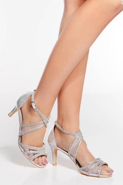 Wide Fit Silver Satin Diamante Mesh Low Heel Sandals